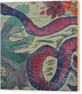 Snake In The Garden Wood Print