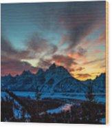 Snake River And Tetons At Sunset Wood Print