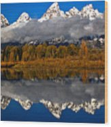 Snake River Fall Reflections Wood Print