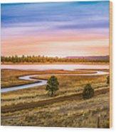 Snaking  River Wood Print