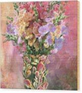 Snapdragons In Snapdragon Vase Wood Print