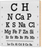 Snellen Chart - Chemical Abundance In Human Body Wood Print