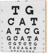 Snellen Chart - Genetic Sequence Wood Print