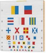 Snellen Chart - Nautical Flags Wood Print