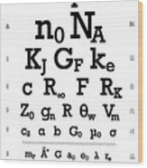 Snellen Chart - Physical Constants Wood Print