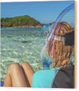 Snorkeler Relaxing On Tropical Beach Wood Print