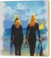 Snorkeler Twins  Wood Print