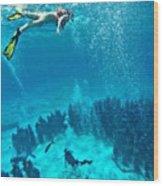 Snorkeling  Wood Print