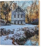 Snow Along Creek Wood Print
