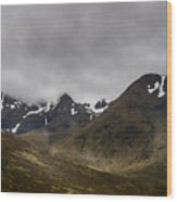 Snow And Fog Over Glengo Mountain In Scotland. Wood Print