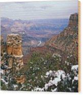 Snow And Pillar - Grand Canyon Wood Print