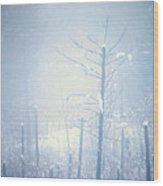 Snow And Remnants Of The Fire 2 Wood Print