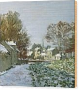 Snow At Argenteuil Wood Print by Claude Monet