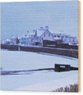 Snow At Cobo Beach Wood Print