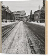 Snow At The Colosseum - Rome Wood Print