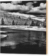 Snow At The River - Bw Wood Print