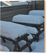 Snow Benches Wood Print