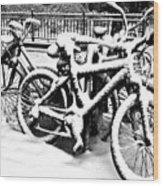 Snow Bicycles Wood Print