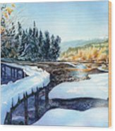 Snow Blanket Over Shoreline Trials Wood Print