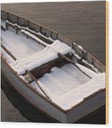 Snow Boat Wood Print