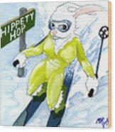 Snow Bunny Skiing Wood Print