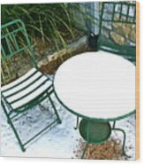 Snow Cafe Wood Print by Alison Mae Photography