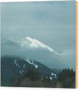 Snow Cap In The Distance Wood Print