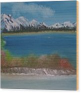 Snow Capped Mountains Wood Print