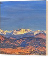 Snow-capped Panorama Of The Rockies Wood Print