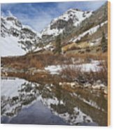 Snow-capped Refections Wood Print