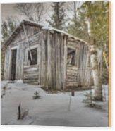 Snow Covered Abandon Cabin Wood Print