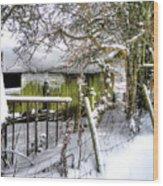 Snow Covered Barn Wood Print