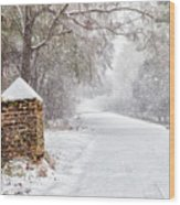 Snow Covered Brick Pillar Wood Print