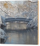 Snow Covered Bridge Wood Print