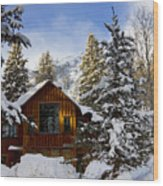 Snow Covered Cabin Wood Print