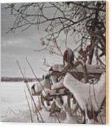 Snow Covered Farming Equipment Wood Print