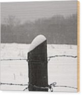 Snow Covered Fence Post Wood Print