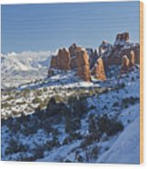 Snow-covered Fins And La Sal Mountains Wood Print