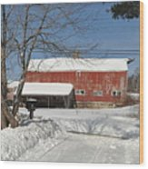Snow Covered Masachussetts Barn Wood Print