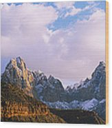 Snow Covered Mountain Range, The Wood Print