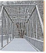 Snow Covered Pony Bridge Wood Print