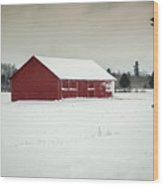 Snow Covered Red Barn Wood Print