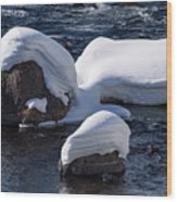 Snow Covered River Rocks Wood Print