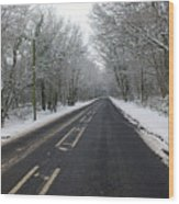 Snow Covered Road Wood Print