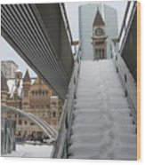 Snow Covered Stairs Wood Print