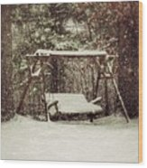 Snow Covered Swing Wood Print