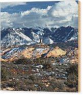 Snow Covered Utah Mountain Range Wood Print