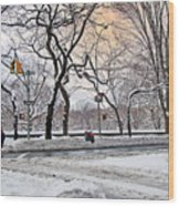 Snow Day On 5th Avenue Wood Print