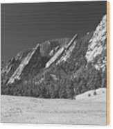Snow Dusted Flatirons Boulder Co Panorama Bw Wood Print