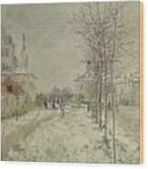 Snow Effect Wood Print by Claude Monet
